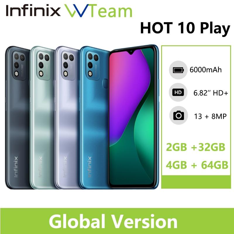Infinix Горячая 10 играть глобальная версия 2 Гб оперативной памяти, 32 Гб встроенной памяти 4 Гб 64 Гб Смартфон 6,82 дюйм HD + Дисплей 6000 мА/ч, Helio G25 G35 мобил...