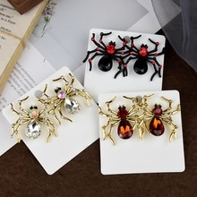 Halloween Spider Earrings Vintage Alloy Rhinestone Earrings Spider Stud Earrings Black Earrings for