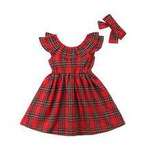 Natal do bebê meninas vestido da criança crianças festa de natal casamento princesa arco vermelho verificado tutu vestidos 1-6 t crianças roupa