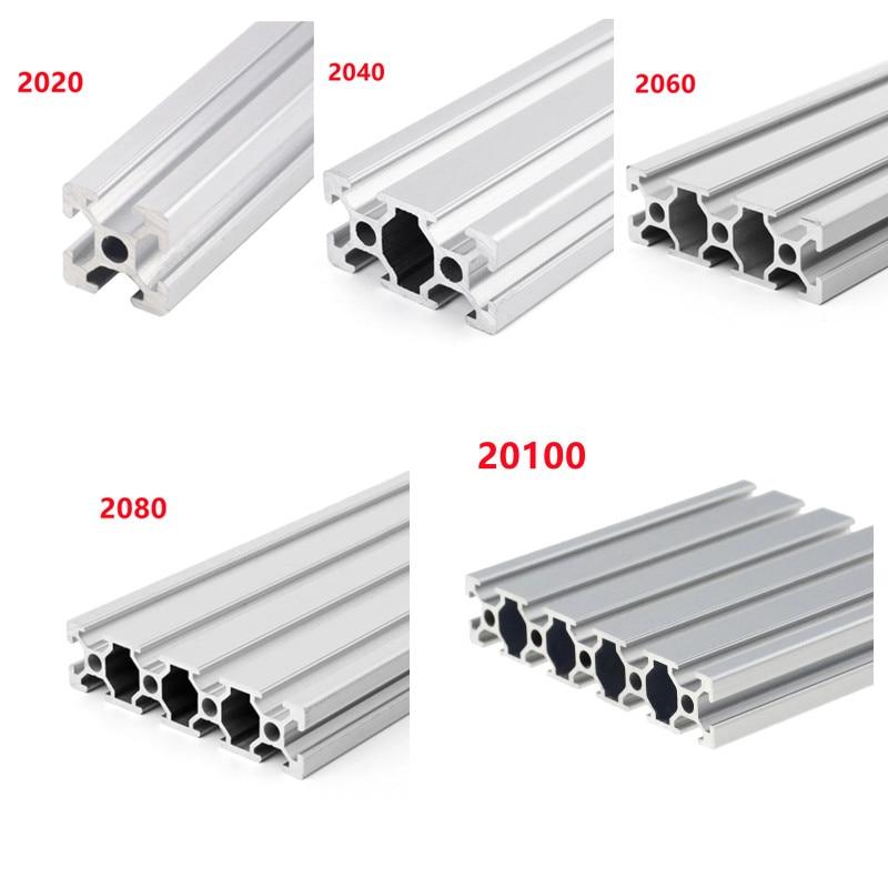 AliExpress - 1/2pcs/lot 2020 2040 2060 2080 20100 Aluminum Profile Extrusion 100mm-500mm Length Linear Rail For DIY 3D Printer Workbench CNC