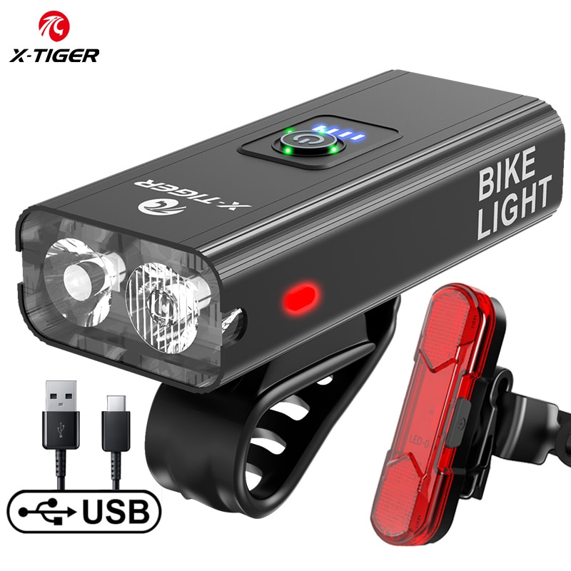 X-TIGER Bicycle Light Rainproof USB Charging LED 1200 Lumens MTB Front Lamp Headlight Aluminum Ultra