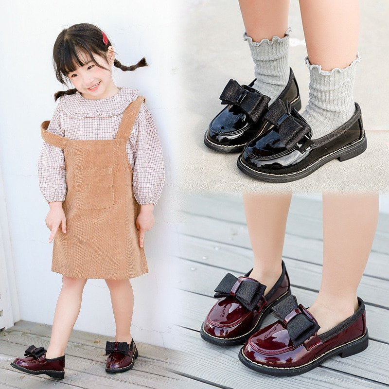 Spring New kids school shoes Girls Black children leather Shoes princess Performance black Wine red 3-15T