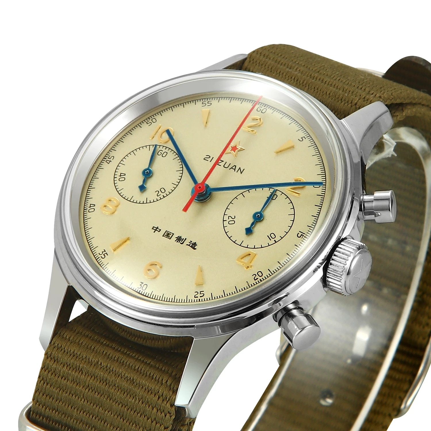 40mm China Aviation Chronograph Seagull Movement 1963 Mechanical Watch For Men 40mm ST1901 Sapphire