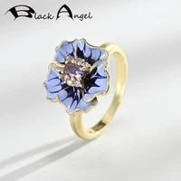 black angel 18k gold purple enamel sunflower ring for women 925 silver amethyst rings wedding jewelry dropshipping