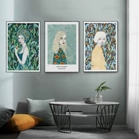 Peinture sur toile imprimee de personnages nordiques modernes peints a la main  affiches dart abstraites pour femmes  decoration de la maison  salon