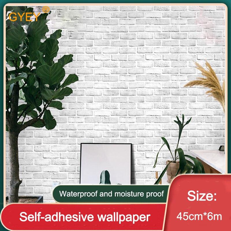 White Brick Pattern Wallpaper Nordic Self-adhesive 3D Three-dimensional Brick Brick Living Room Bedroom Renovation Wallpaper 6m