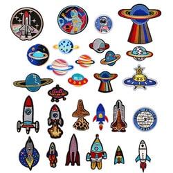 Planeta terra espaço astronauta foguete bordado pano adesivos acessórios de vestuário emblema remendo adesivos