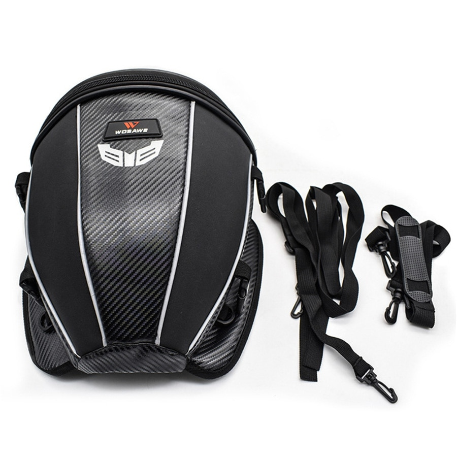 Motorcycle Rear seat Tail Bag PU Leather Carbon Fiber Color Tool bag  Backpack Carry Luggage waterproof Reflective
