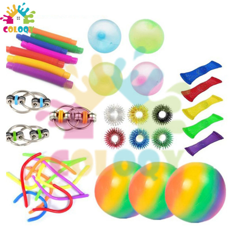 COLOQY 13 Fidget Toys Pop it Sensory Antistress Toy Pack Squishy Squish mallow Decompression Stress Reliever Toy For Adults Kids
