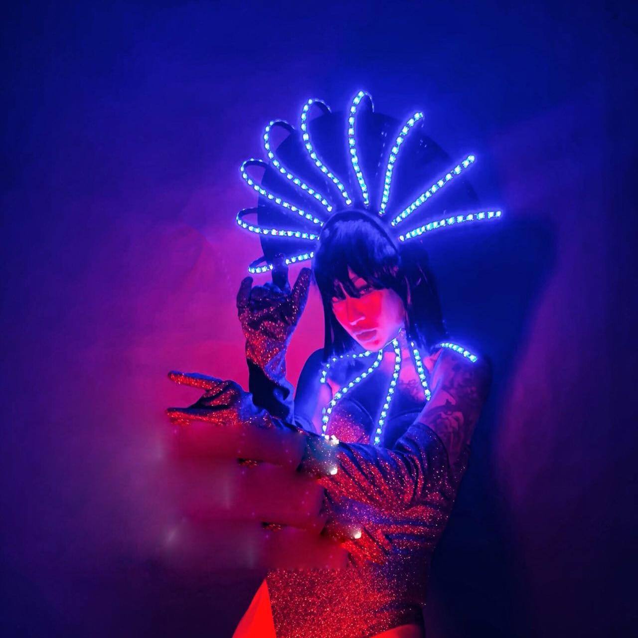 مرحلة الرقص تظهر نادي ليلي بار ملابس الحفلات مثير المرأة led زي لوميوس أغطية الرأس ارتداءها مجموعة كاملة راقصة الزي