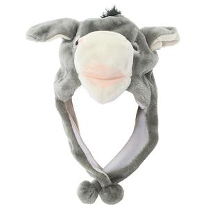 JOYHY Cute Plush Grey Donkey Earflap Animal Hats with Ears Teenagers Children Christmas Gifts Halloween Winter Warm Beanie Cap