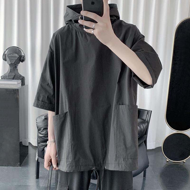 Мужская одежда 2021 летняя новая мужская футболка с коротким рукавом с капюшоном свободного покроя бренд Harajuku куртка Ins ретро одежда тренд