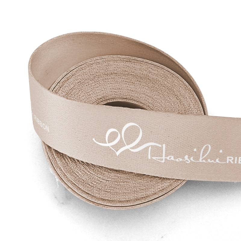 HAOSIHUI 19 26 39 51mm Thickened Polyester Cotton Printed Custom Gift Logo Ribbons for Cake Packaging 100yards/lot