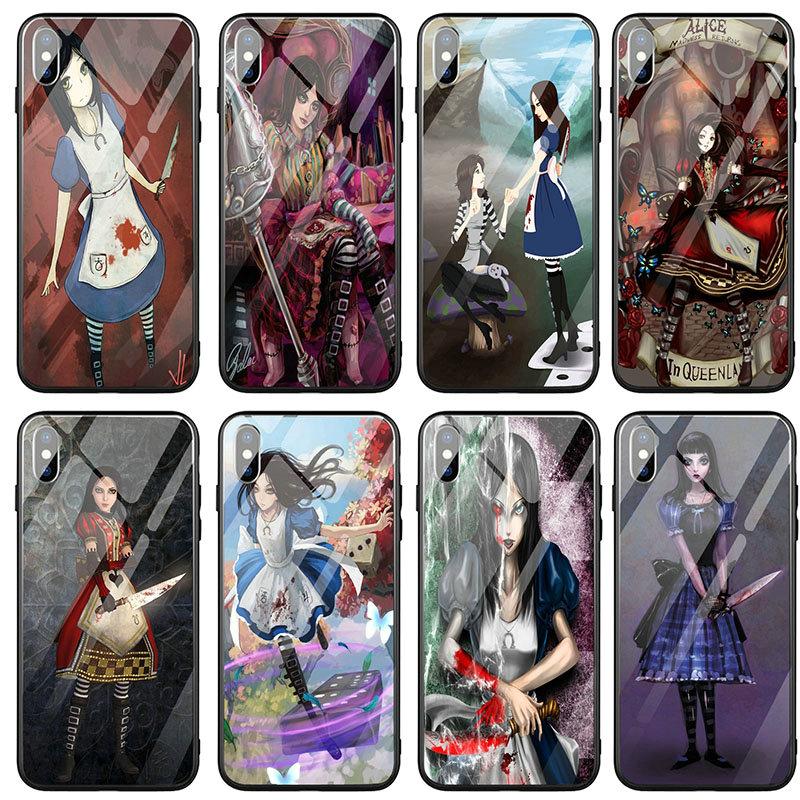 Anime Alice locura devuelve las chicas de cristal templado de teléfono casos para iPhone X XR XS 11 12 Pro Max 10 7 5 5S SE 2020 6 6S 8 Plus bolsas
