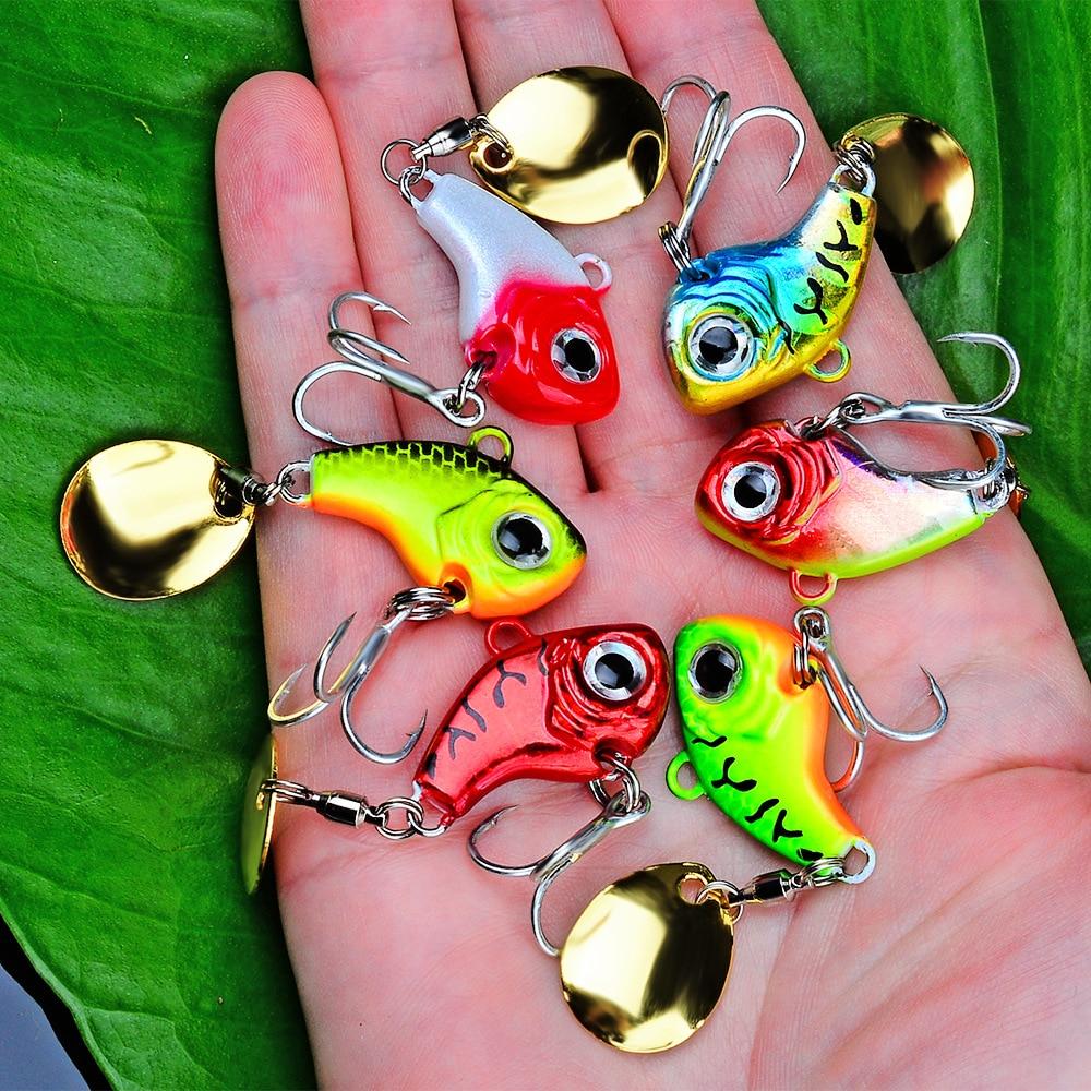 6Pcs/Lot Long Throw Road Sub-Bait With Sequins Rotating Vibration VIB Sequins Submerged Road Sub-Bait Fishing Gear Peche Pesca