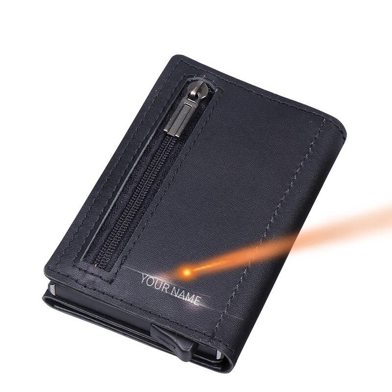 Cartão de crédito masculino de couro legítimo, cartão de crédito com zíper para moedas, porta-cartão automático pop up, antirroubo rfid carteira de metal