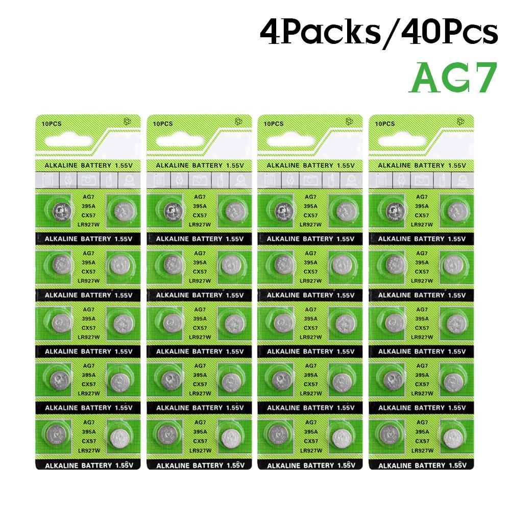AliExpress - 40PCS/4card 1.55V AG7 Alkaline Button Cell Battery LR927 LR57 SR927W 399 GR927 395A Batteria for Cholesterol Testing Meter Toys