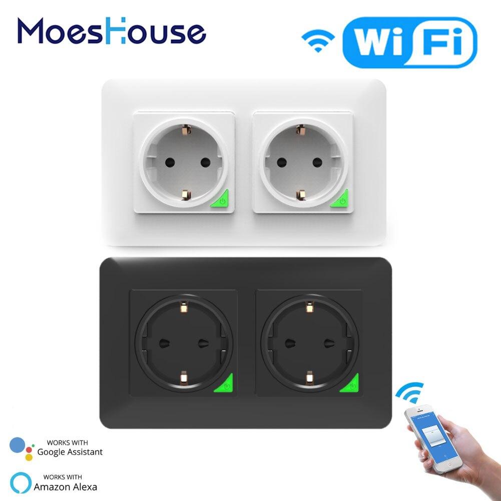 Enchufe inteligente WiFi europeo desmontable DE la placa DE pared Smart Life Tuya App Control funciona con Alexa Echo Google Home