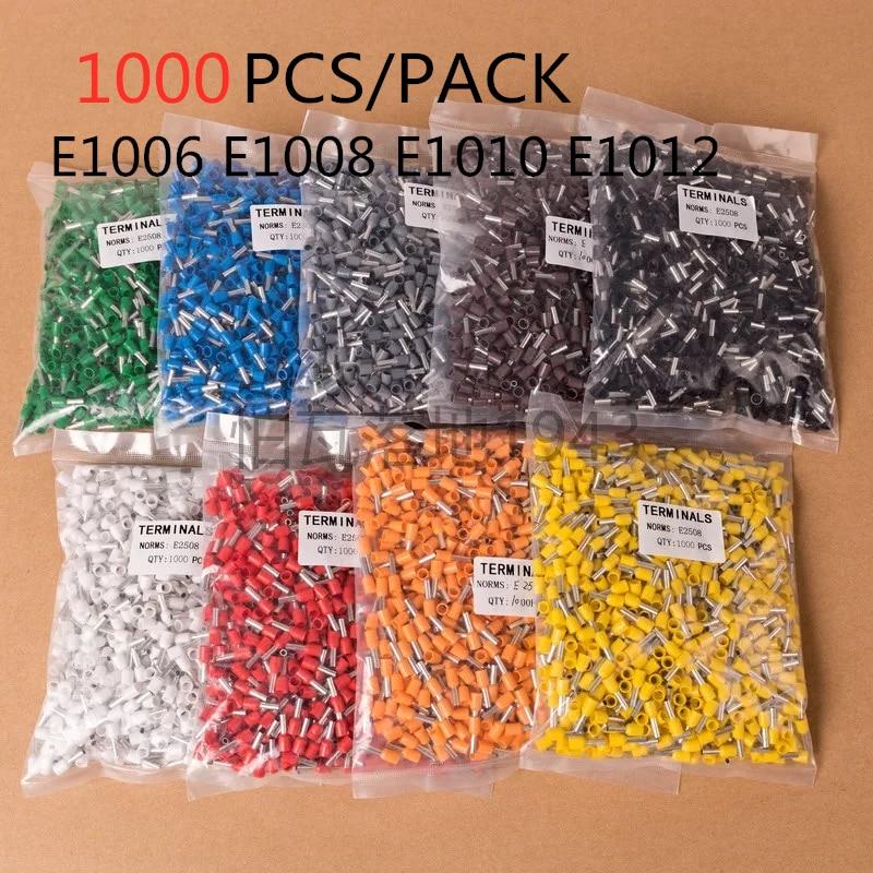 1000 unids/paquete E1006 E1008 E1010 E1012 cable aislado cable de Terminal conector...