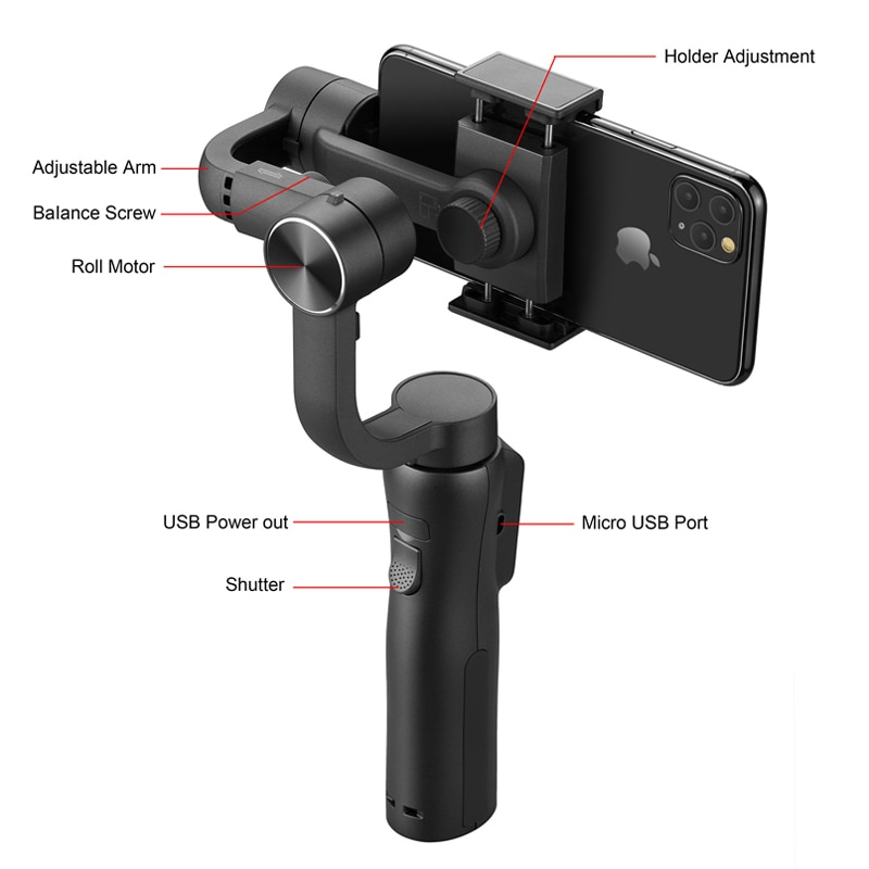 EKEN S5B 3 Axis Handheld gimbal stabilizer cellphone Video Record Smartphone  smove mobile stabilizers enlarge