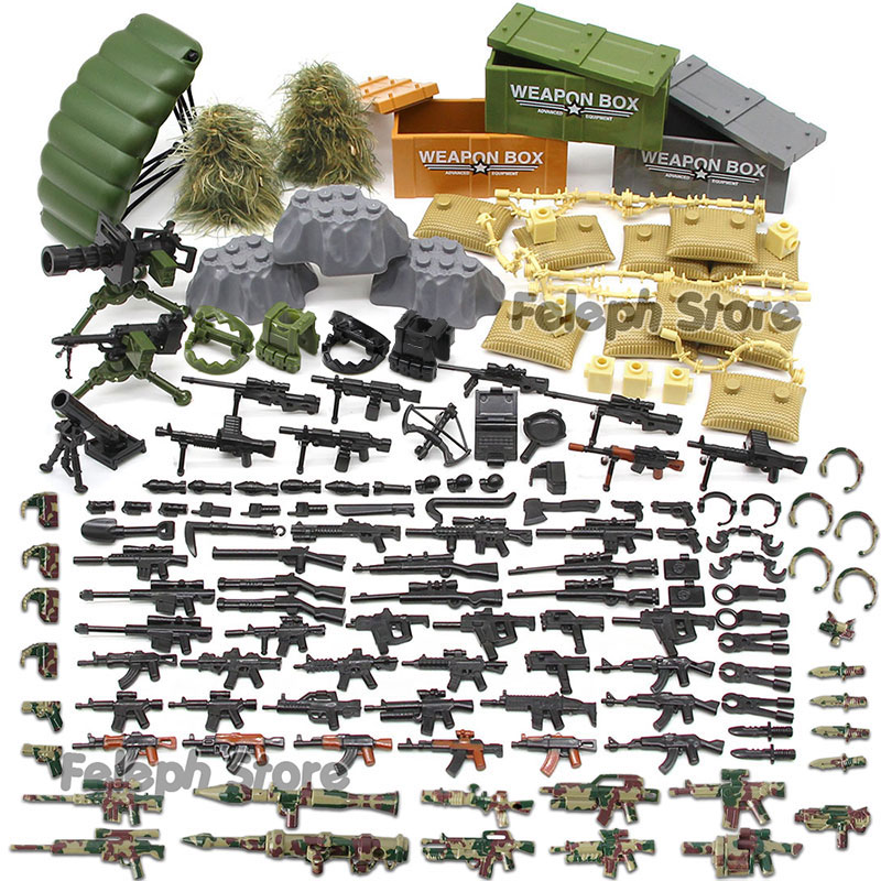 153Pcs Sandbag Laptop Armor Camouflag Building Blocks Model Bricks Military Army SWAT Weapon Team Set MOC Accessories DIY Toy