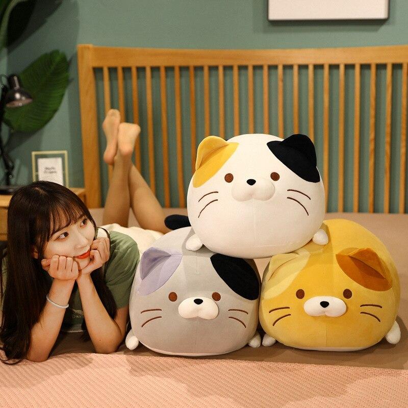Kawaii, кошка, плюшевые игрушки, мягкие милые кошки, кукла, милая подушка в виде животного, мягкая мультяшная подушка, Детский Рождественский по...