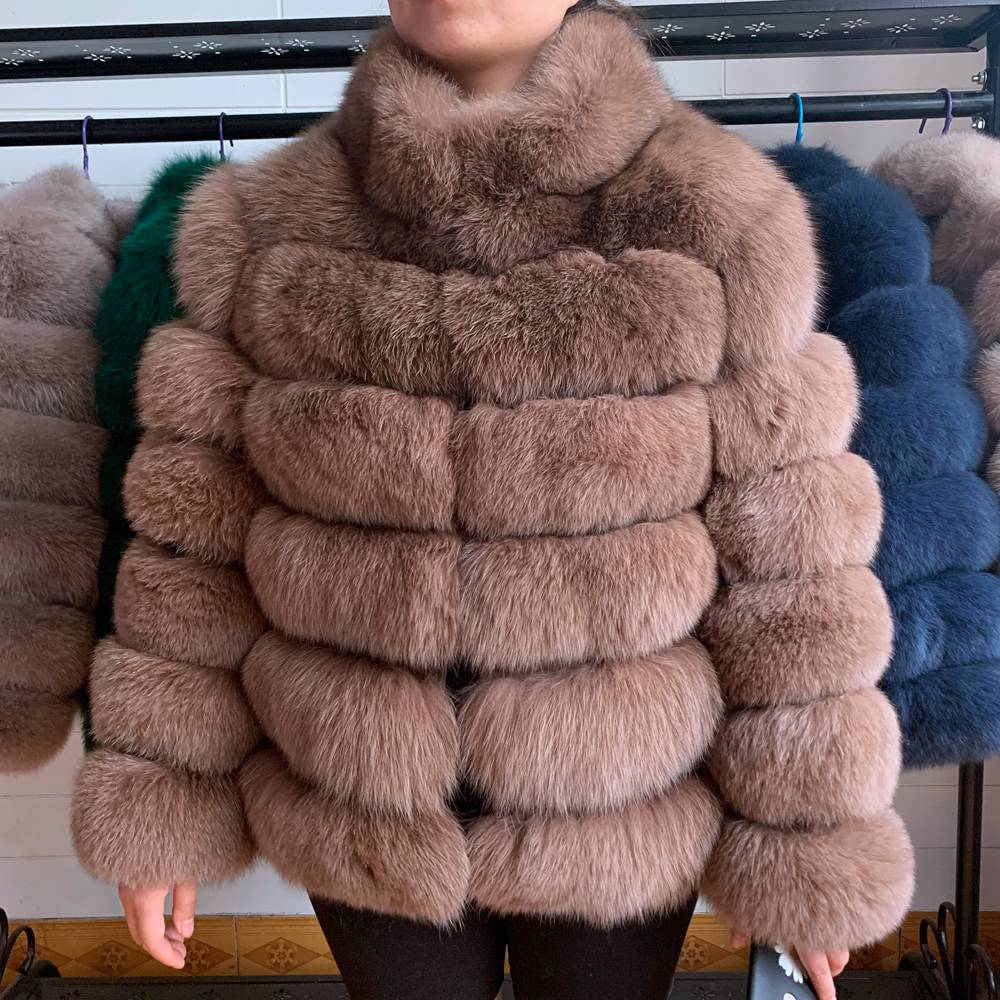 Women Short Furry Real Fur Winter Coat Plus Size Stand Collar Long Sleeve Real Fox Fur Coat Spring Fashion Party Jacket Overcoat