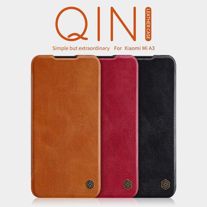 Vintage de luxo de couro do caso da aleta para Xiaomi Mi A3, original NILLKIN caso do telefone móvel