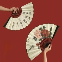 portable folding fan chinese travel outdoor summer creative large handheld fan home abanico de mano cooling products df50sz