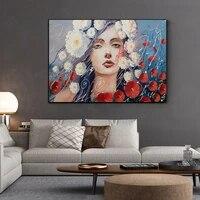 Toile dart mural abstrait moderne avec fleur rouge pour fille  peinture sur toile pour maison  chambre a coucher  decoration murale  image sans cadre