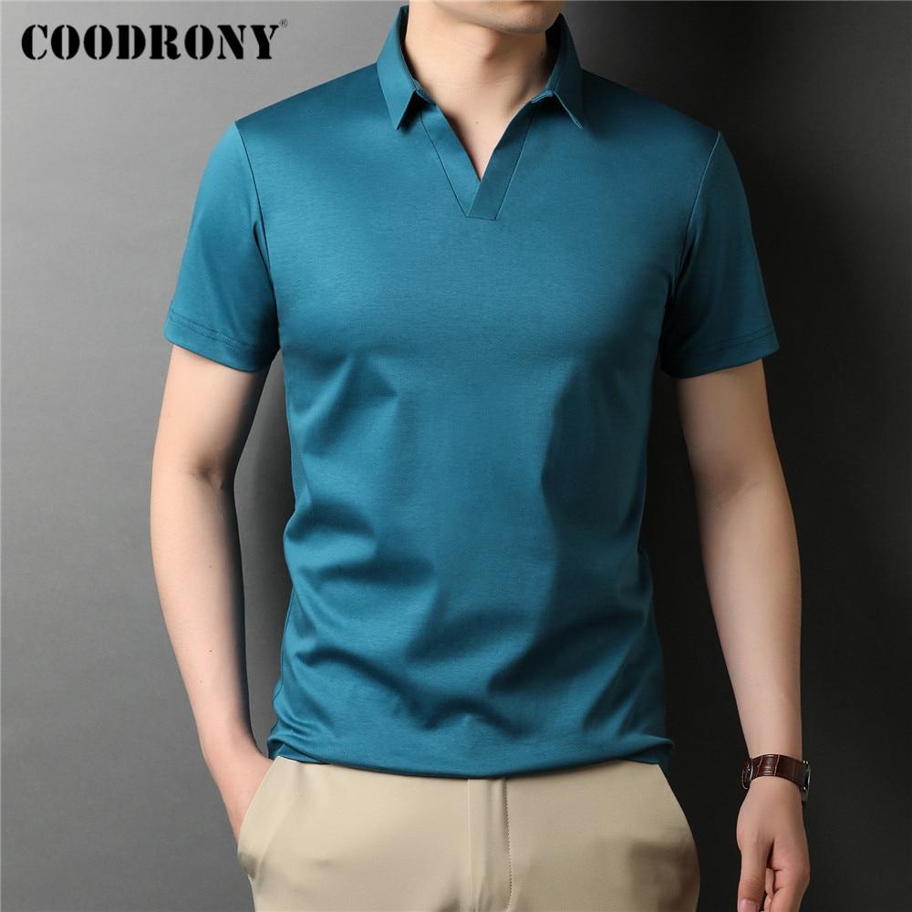 COODRONY брендовая Высококачественная летняя крутая однотонная Повседневная футболка поло с коротким рукавом из 100% чистого хлопка, Мужская об...