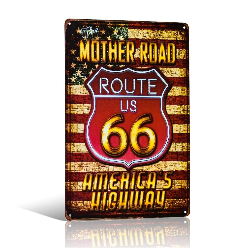 Потертый шик домашний бар США Mother Road Route 66 металлические оловянные знаки домашний декор деревенская настенная доска