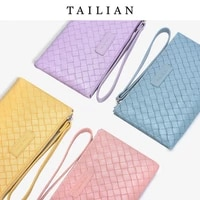new clutch bag ultra thin large capacity woven purse ladies mobile phone bag convenient wrist