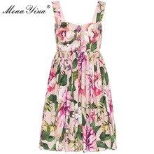 MoaaYina robe de créateur de mode en coton robe dété pour femmes bretelles Spaghetti imprimé fleuri coton robes de vacances