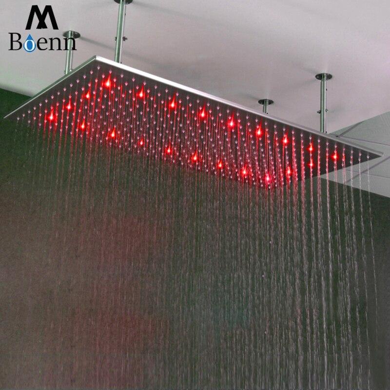 الحمام ارتفاع ضغط دش رئيس 20 ''× 40'' ملليمتر التحكم في درجة الحرارة LED سبا دش نحى مربع سقف دش الاستحمام