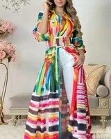 2021 new color printing maxi blouses women button up bandage long shirt