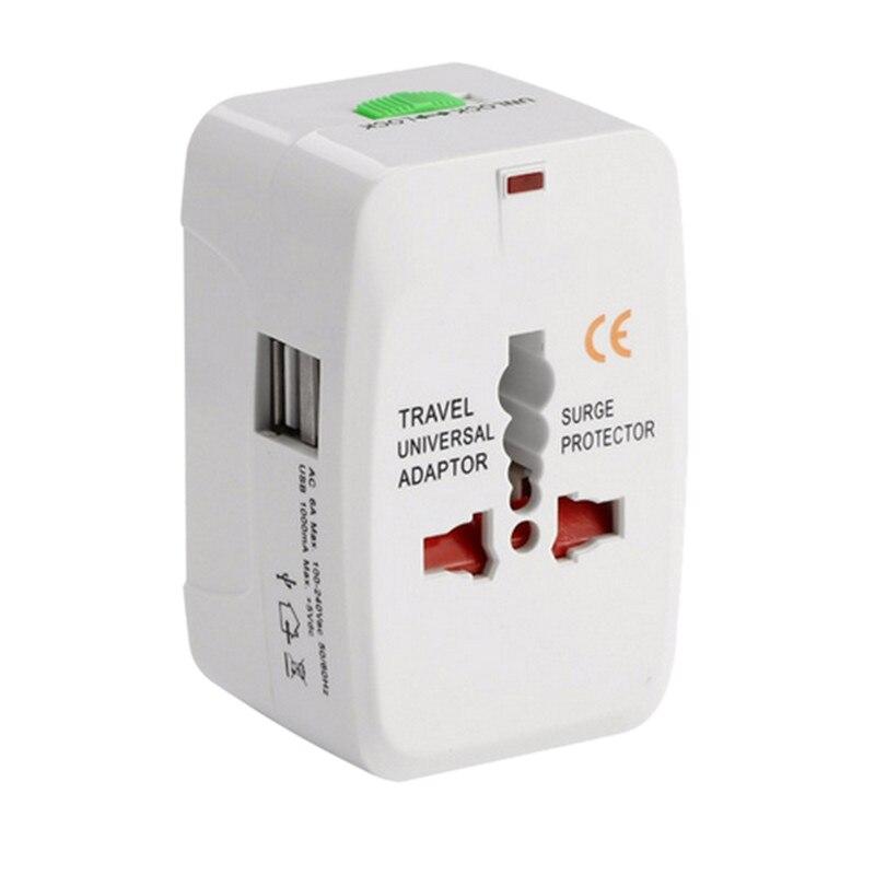 Adaptador de enchufe internacional Universal todo en uno 2 puerto USB adaptador de cargador de corriente alterna para viaje mundial con AU US Uk la UE convertidor Plu