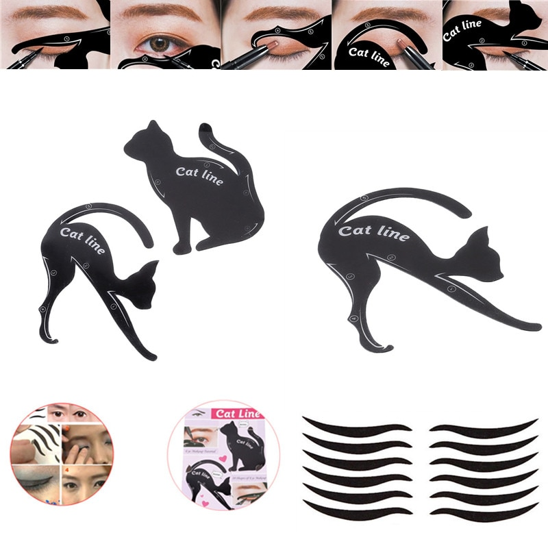 Makeup Tools New Eyebrow Stencils Cat Eyeliner Model Stencil Kit Guide Template Maquiagem Double Wing Eye Shadow Frame Card недорого