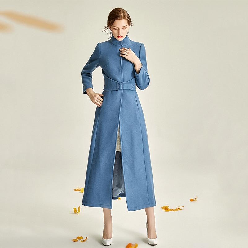 الأزرق أنيقة المرأة معطف الصوف حزام الموضة الوقوف طوق طويل الأكمام معطف 2020 جديد الخريف الشتاء ملابس خارجية جاكيتات