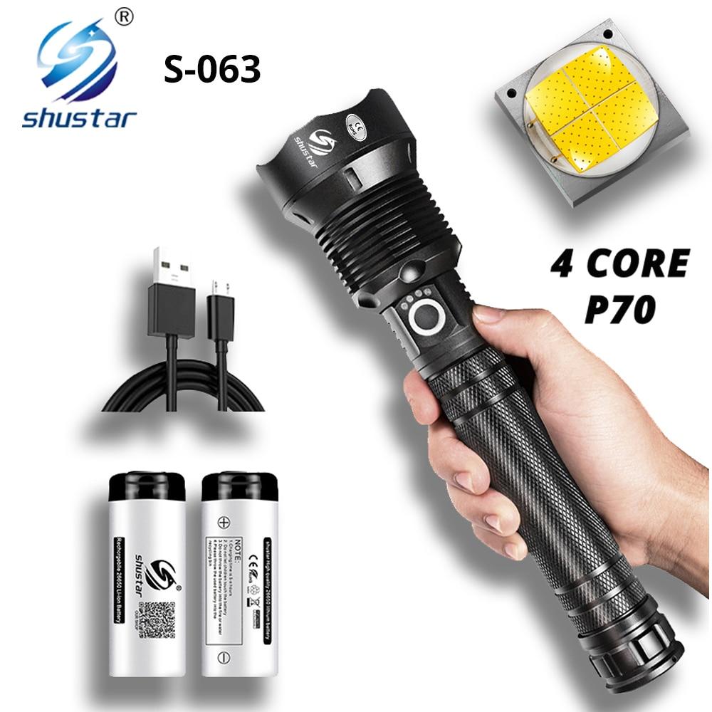 poderosa lanterna led com 4 nucleo p70 lampada granulo zoomable 3 modos de iluminacao