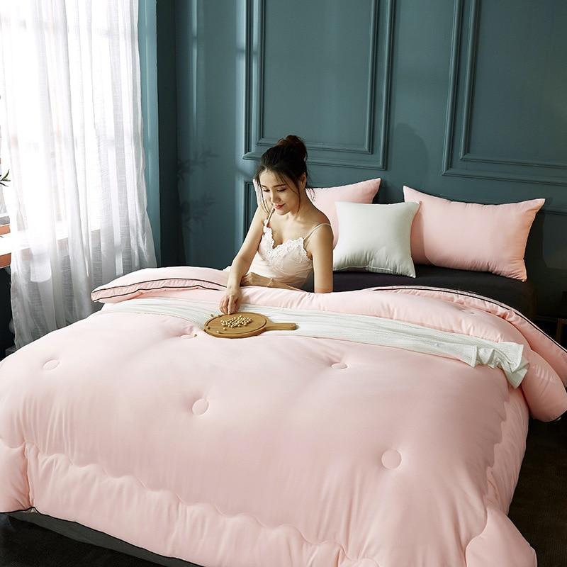 Edredón de algodón grueso y suave para invierno, edredón de fibra de soja Natural para adultos, edredón de cama individual/Doble