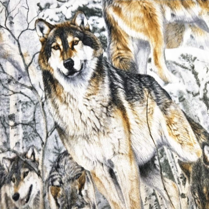 Nuevo, ancho, 110cm, dibujo de lobo 100% nieve, tela de algodón, Paisaje nevado, tela para manualidades, costura, vestido, Patchwork