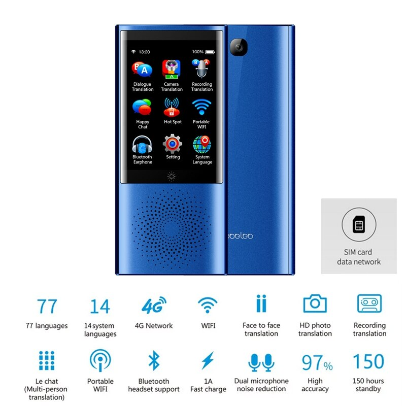 Boeleo W1 traductor de voz de viaje instantáneo traductor Global SIM 4G WIFI bluetooth 1 + 8G 77 Idioma foto pantalla táctil aprendizaje