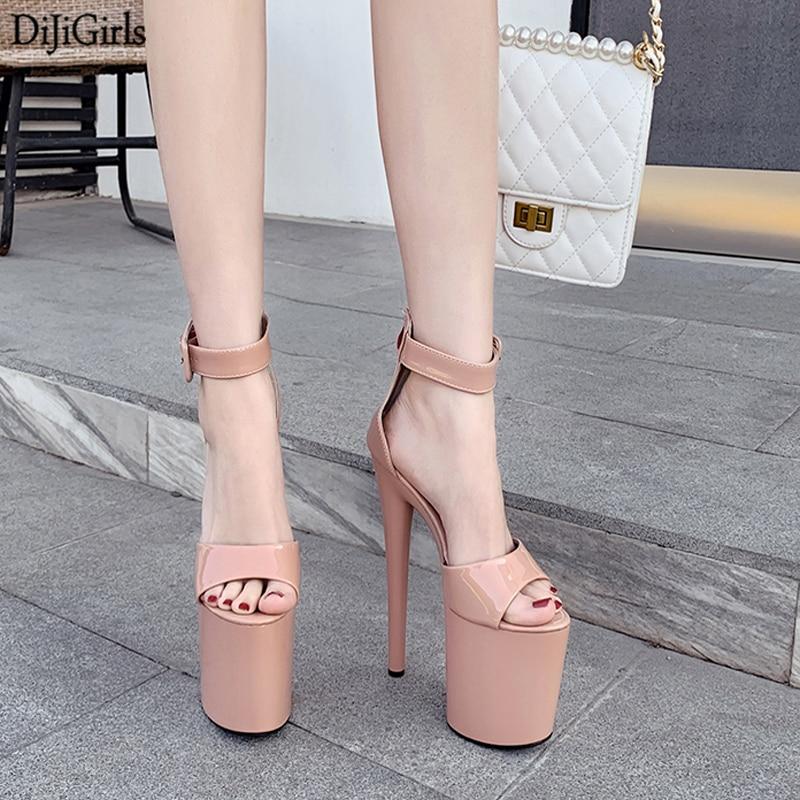 20cm Heel Gladiator Sandals Women Stripper Shoes Summer Women Platform Sandals Ladies Black High Heels Sexy shoes for Pole Dance