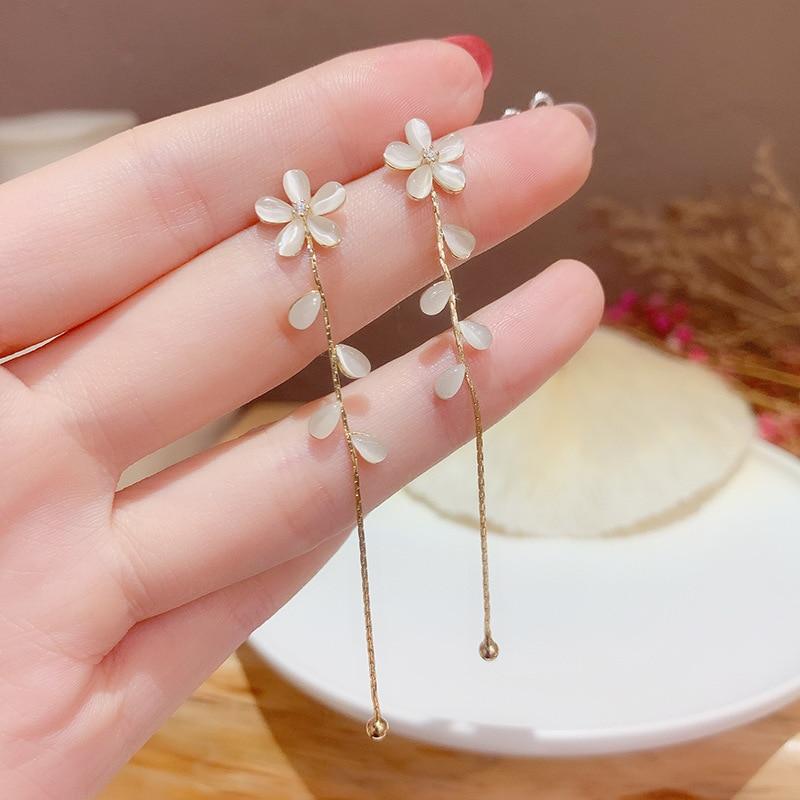 High Quality Opal Earrings Women Long Tassel Flowers 14K Real Gold Stud for Cubic Zircon ZC