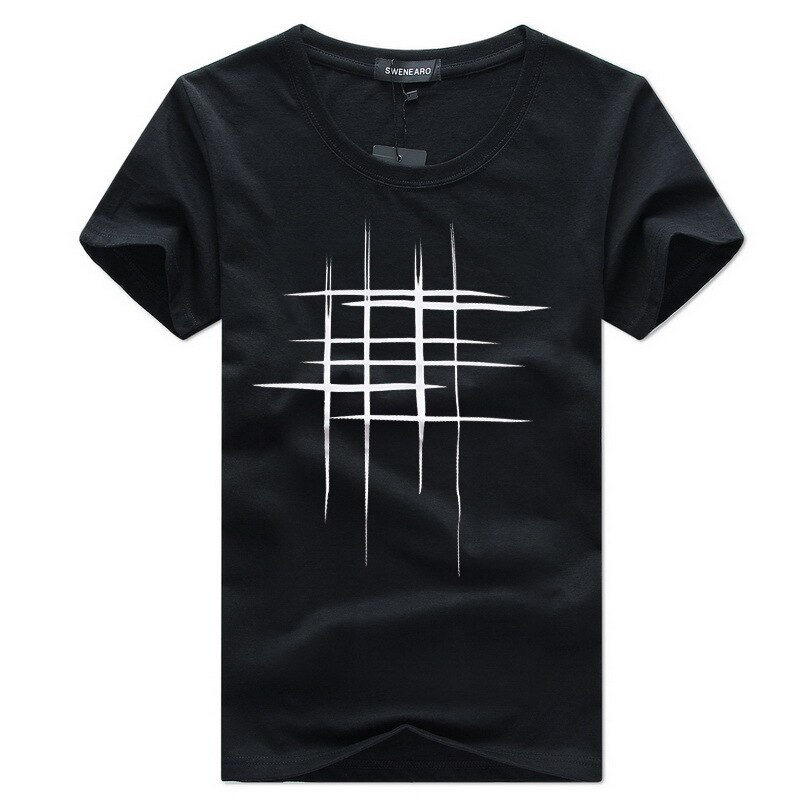 Men's T-Shirt Summer Short Sleeve t shirt men tshirt Simple creative design line cross print cotton Men Brand t-shirts  gift