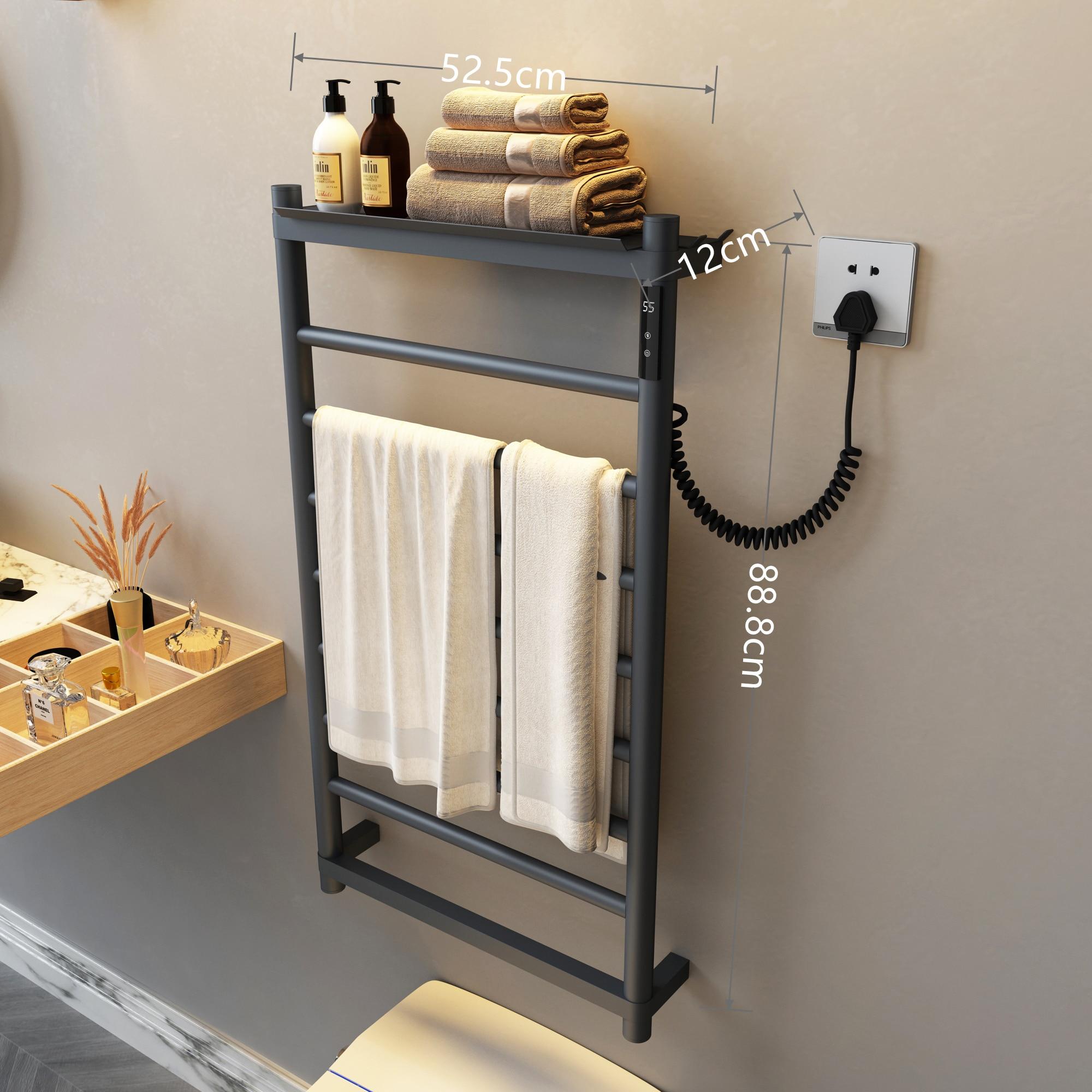 التدفئة الكهربائية منشفة رف اكسسوارات الحمام المنزلية رمادي عميق ترموستاتي تجفيف منشفة استحمام رف منشفة دفئا