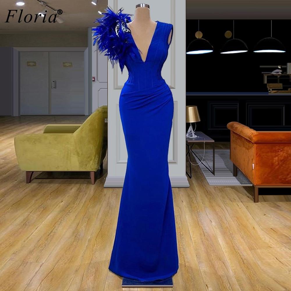 Royal Blue Mermaid Cocktail Kleider 2020 Lange V-ausschnitt Prom Kleider Frau Party Nacht Elegante Abiti Da Cerimonia Abendkleider