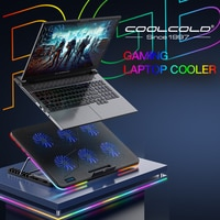 Кулер Coolcold для ноутбуков, модная охлаждающая подставка с RGB-подсветкой, 6 вентиляторов, подходит для игровых компьютеров и ноутбуков