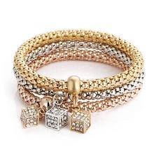 New Tree of Life Cubic zircon Charm Popcorn 3colors Bracelet Cube Simple owl Pendant Silver Gold Elastic Braceles For Women Gift